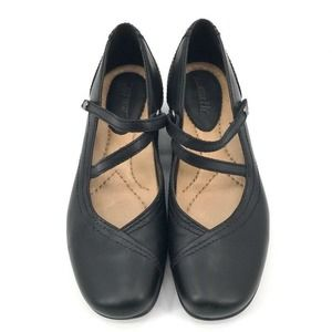 Earth Mary Jane Shoes Black Leather Wedge US 6.5 M